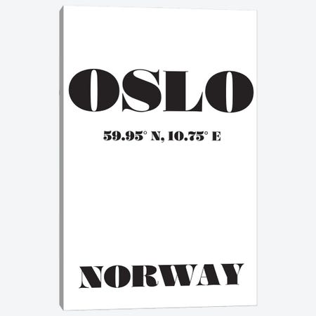 Oslo Norway Coordinates Canvas Print #NPS145} by Nordic Print Studio Canvas Wall Art