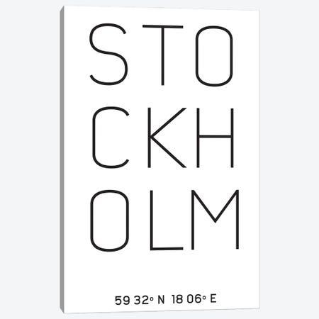 Stockholm Sweden Latitude Longitude Coordinates Canvas Print #NPS152} by Nordic Print Studio Canvas Art