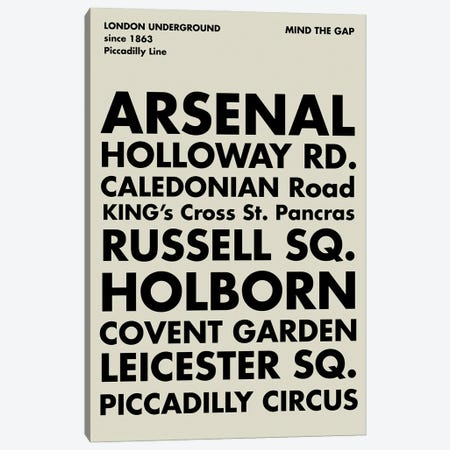 London Underground Piccadilly Line Canvas Print #NPS153} by Nordic Print Studio Canvas Wall Art