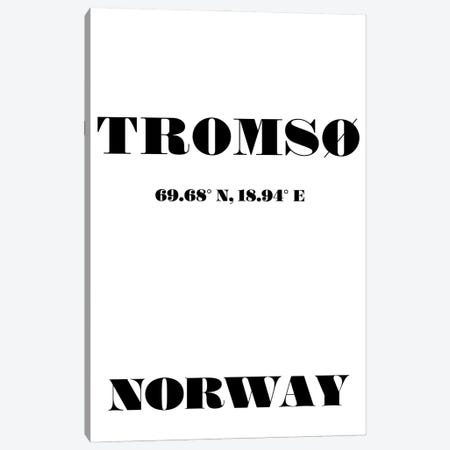 Tromso Norway Coordinates Canvas Print #NPS157} by Nordic Print Studio Art Print