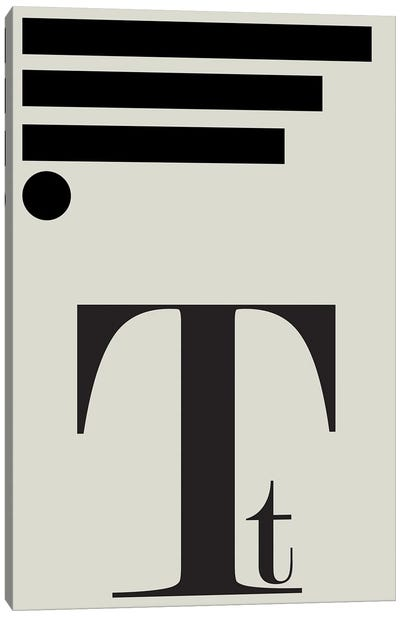 Typography Series Letter T Canvas Art Print