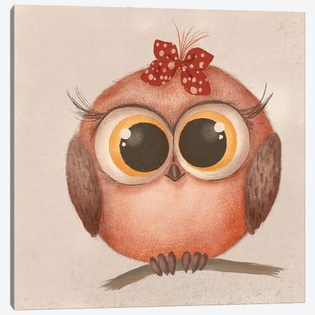 Cute Baby Owl Canvas Print #NPS162} by Nordic Print Studio Art Print