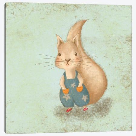 Cute Baby Squirrel Canvas Print #NPS163} by Nordic Print Studio Art Print