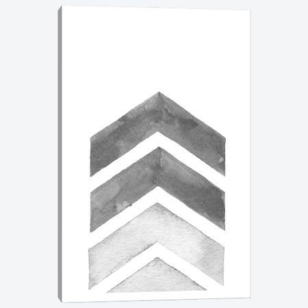 Watercolor Grey Chevron Canvas Print #NPS28} by Nordic Print Studio Canvas Wall Art