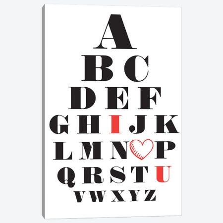 Love Alphabet Canvas Print #NPS30} by Nordic Print Studio Canvas Art Print