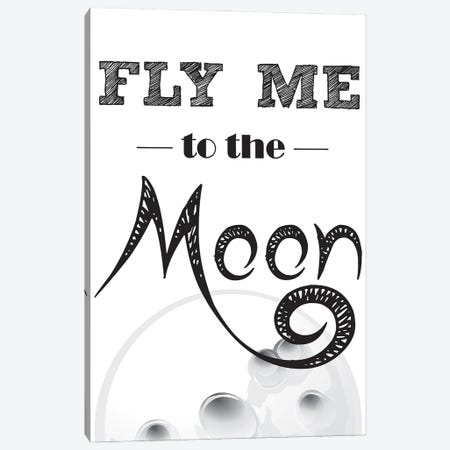 Fly Me To The Moon Canvas Print #NPS47} by Nordic Print Studio Canvas Art Print