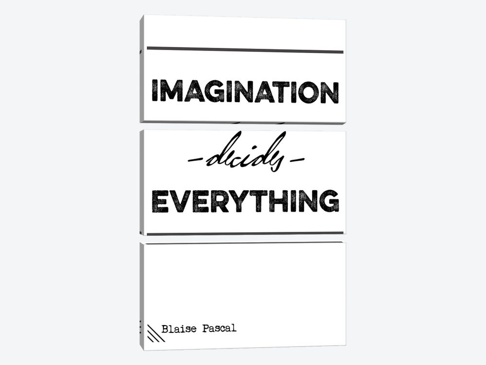 Imagination Decide Everything - Blaise Pascal Quote by Nordic Print Studio 3-piece Canvas Art Print
