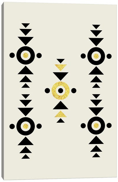 Abstract Tribal Gold And Black I Canvas Art Print