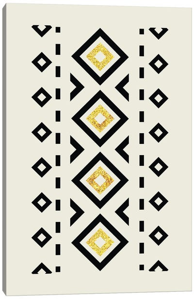 Abstract Tribal Gold And Black II Canvas Art Print