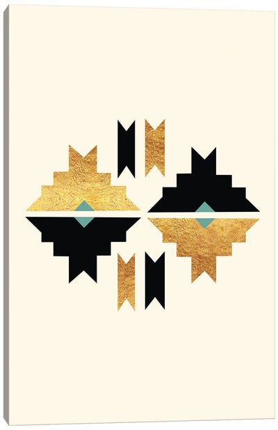 Abstract Tribal Gold And Black III Canvas Art Print