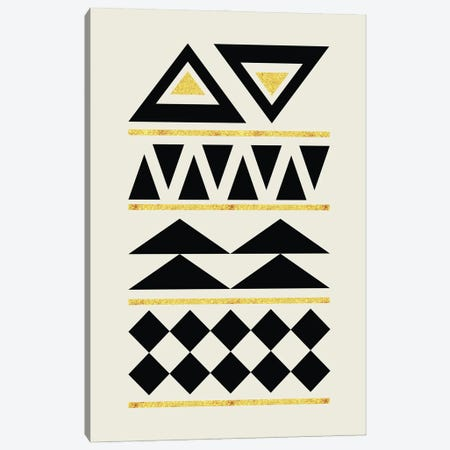 Abstract Tribal Gold And Black IV Canvas Print #NPS86} by Nordic Print Studio Canvas Art Print