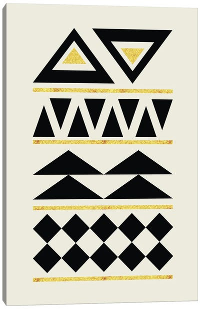 Abstract Tribal Gold And Black IV Canvas Art Print