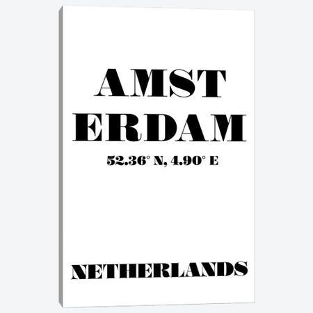 Amsterdam - Coordinates Canvas Print #NPS8} by Nordic Print Studio Canvas Wall Art