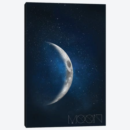 Once In A Blue Moon Canvas Print #NPS93} by Nordic Print Studio Art Print