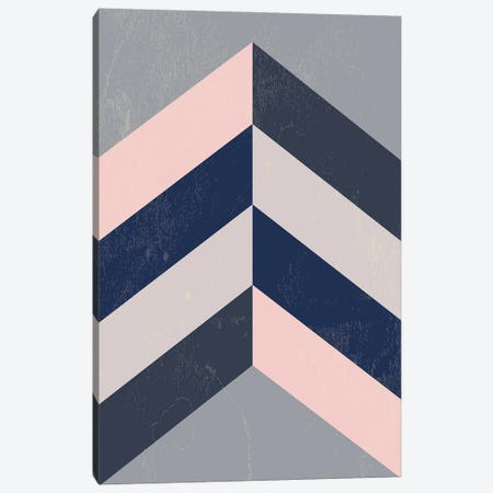 Retro Chevron Pink, Navy Blue And Grey Canvas Print #NPS94} by Nordic Print Studio Canvas Art