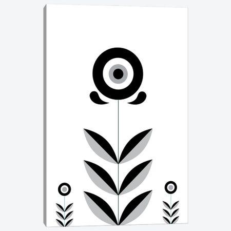 Black & White Retro Scandinavian Flower Canvas Print #NPS95} by Nordic Print Studio Canvas Art