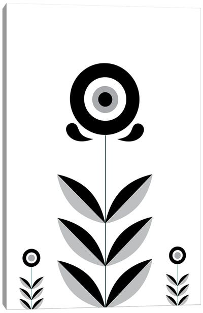 Black & White Retro Scandinavian Flower Canvas Art Print