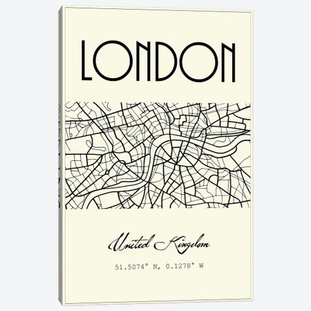 London City Map Canvas Print #NPS96} by Nordic Print Studio Canvas Artwork