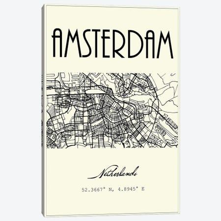 Amsterdam City Map Canvas Print #NPS97} by Nordic Print Studio Canvas Artwork