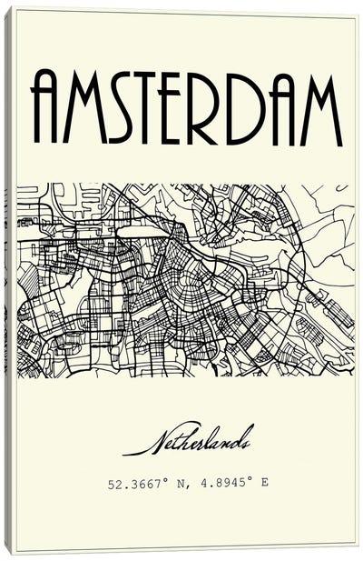 Amsterdam City Map Canvas Art Print