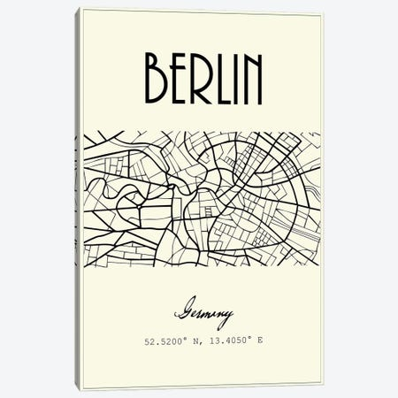 Berlin City Map Canvas Print #NPS98} by Nordic Print Studio Art Print