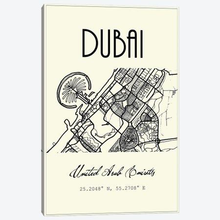 Dubai City Map Canvas Print #NPS99} by Nordic Print Studio Canvas Art Print