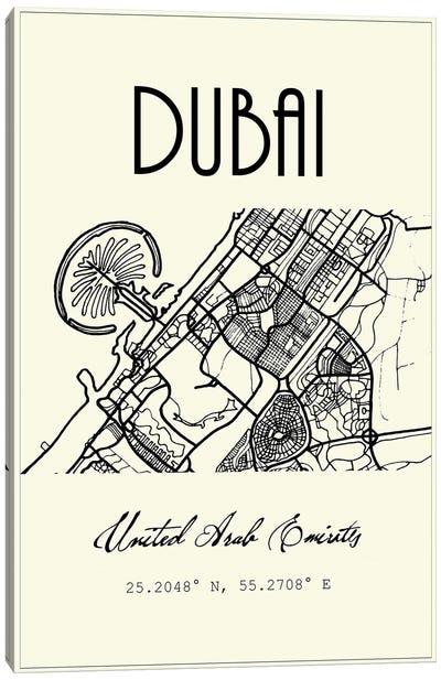 Dubai City Map Canvas Art Print