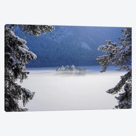 Fog Over Frozen Lake Canvas Print #NRB7} by Norbert Maier Art Print