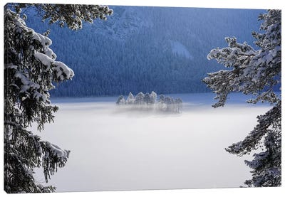 Fog Over Frozen Lake Canvas Art Print