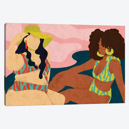 Beach Days Canvas Print #NRE57} by Reyna Noriega Art Print