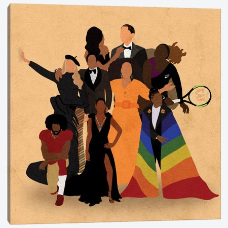 Black Icons Canvas Print #NRE58} by Reyna Noriega Canvas Art