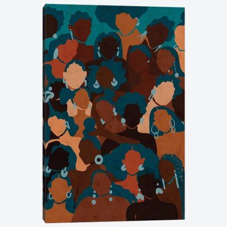 Aqua Womxn Canvas Print #NRE78} by Reyna Noriega Canvas Art