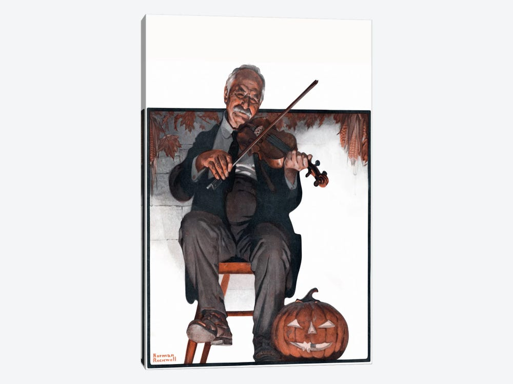Man Playing Violin by Norman Rockwell 1-piece Canvas Print