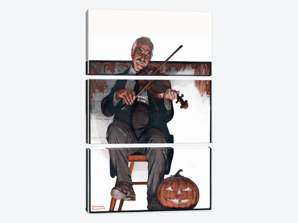 Man Playing Violin by Norman Rockwell 3-piece Art Print