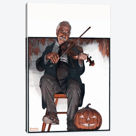 Man Playing Violin 3-Piece Canvas #NRL105} by Norman Rockwell Canvas Art Print