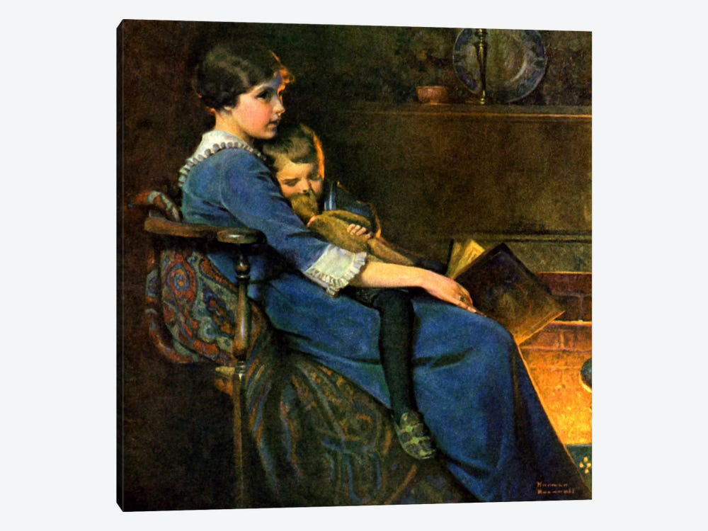 Bedtime by Norman Rockwell 1-piece Canvas Print