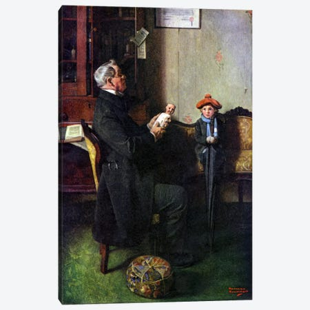 A Hopeless Case Canvas Print #NRL111} by Norman Rockwell Art Print