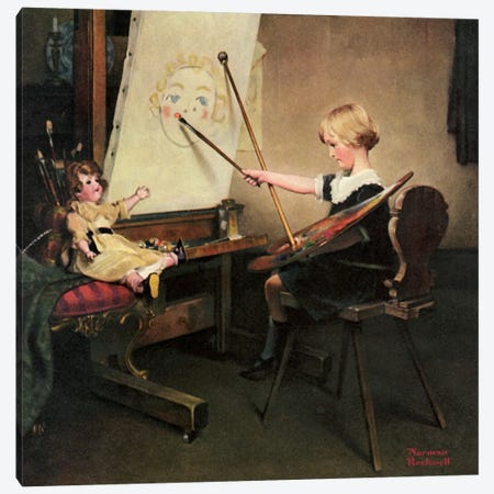 The Artist's Daughter Canvas Print #NRL114} by Norman Rockwell Canvas Wall Art