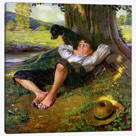 Barefoot Boy Daydreaming Canvas Print #NRL115} by Norman Rockwell Canvas Wall Art