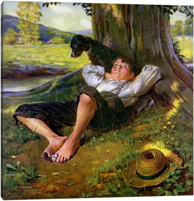 Barefoot Boy Daydreaming by Norman Rockwell Canvas Wall Art