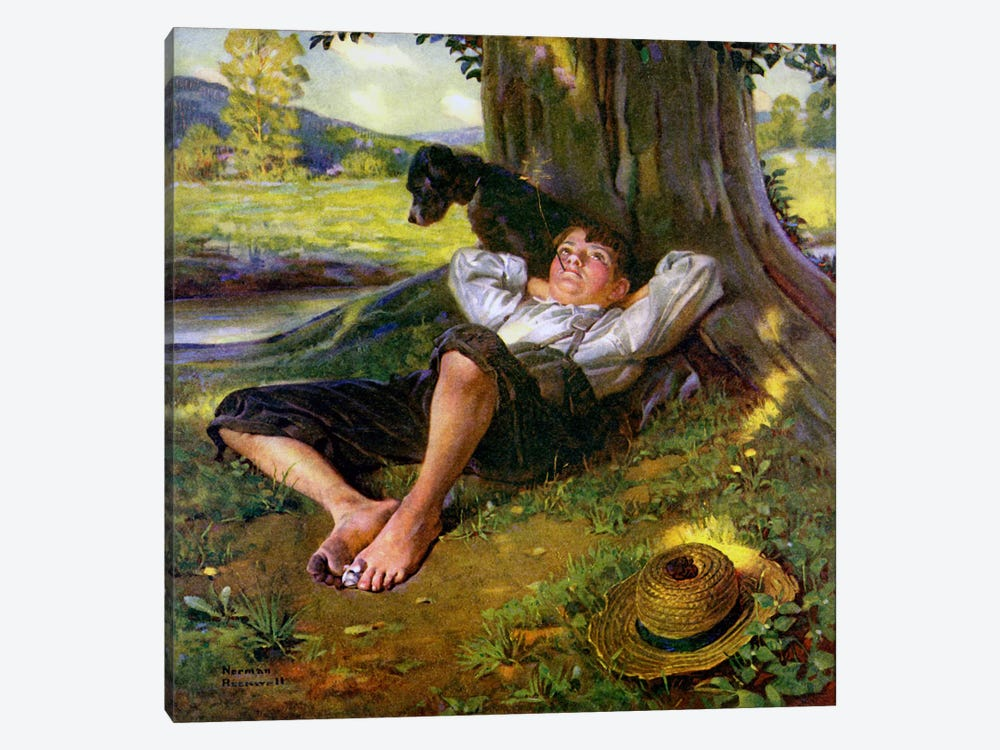 Barefoot Boy Daydreaming by Norman Rockwell 1-piece Canvas Artwork