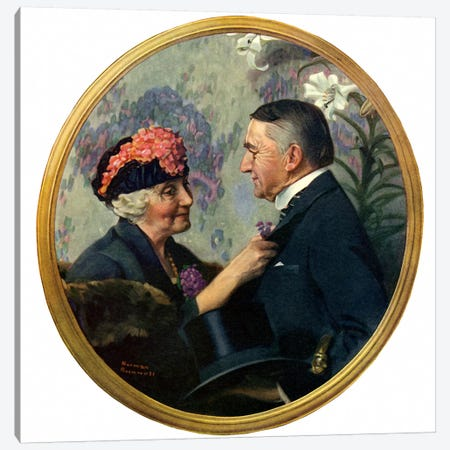 Woman Pinning Boutonniere on Man Canvas Print #NRL117} by Norman Rockwell Canvas Artwork