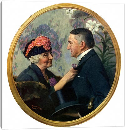 Woman Pinning Boutonniere on Man Canvas Print #NRL117