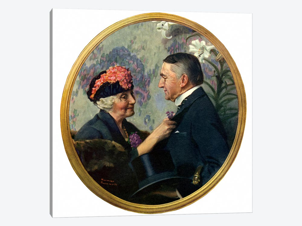Woman Pinning Boutonniere on Man by Norman Rockwell 1-piece Canvas Art