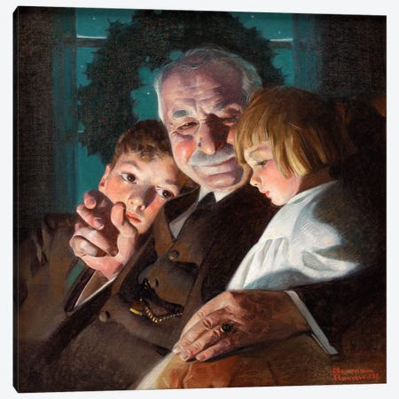The Story of Christmas Canvas Print #NRL118} by Norman Rockwell Canvas Art Print