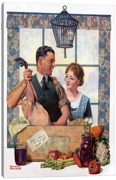 Couple Uncrating Turkey Canvas Print #NRL119