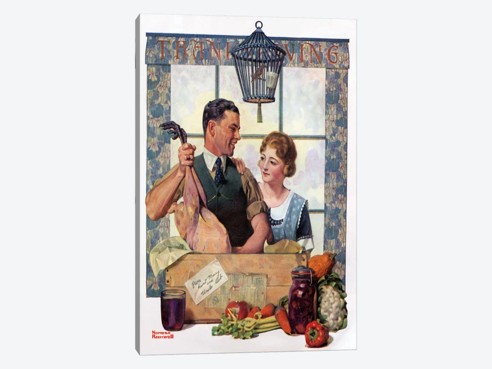 Couple Uncrating Turkey by Norman Rockwell 1-piece Canvas Art