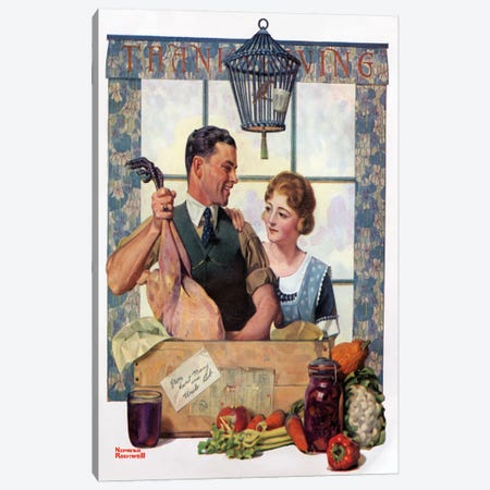 Couple Uncrating Turkey Canvas Print #NRL119} by Norman Rockwell Canvas Print