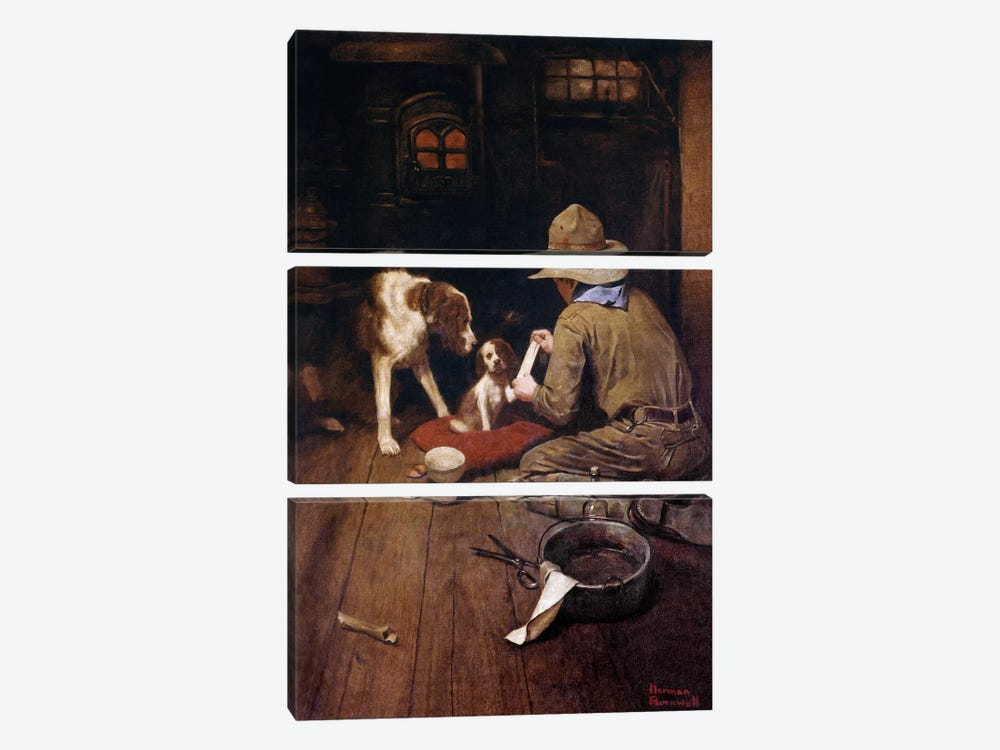 A Scout is Kind by Norman Rockwell 3-piece Canvas Print