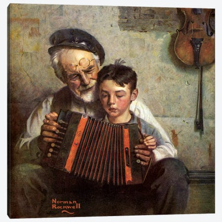 The Music Lesson Canvas Print #NRL120} by Norman Rockwell Canvas Artwork